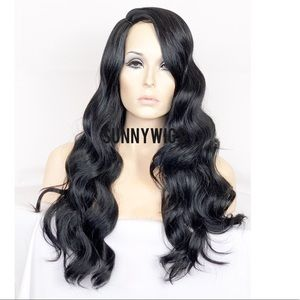 Long Wavy Wig Human Hair Blend Black Body Wave Wig